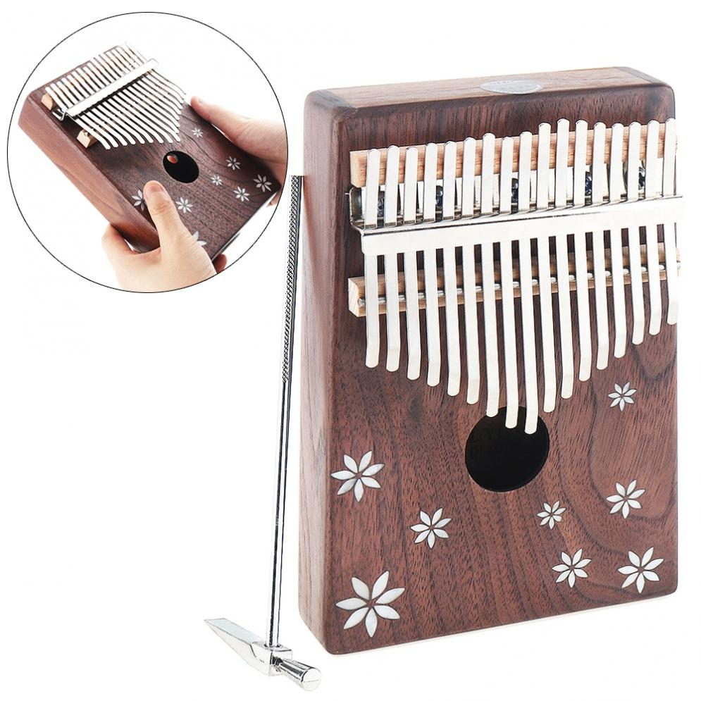 Piano com Escudo Embutimento de Sete Chave Kalimba Acacia Madeira Polegar Folhas Flor Mbira Natural Mini Teclado Instrumento Quente 17