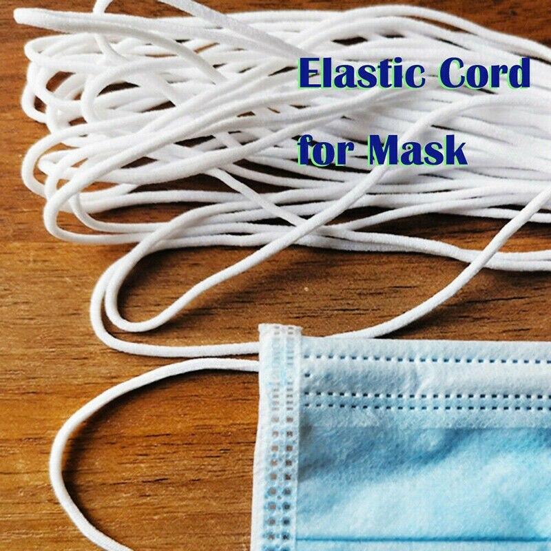 50m Mask Elastic Band Rubber Rope Ear Hanging Rope Nose Bridge Clips Adjustable Line Handmade DIY Elastic Sewing Mask 3mm Width