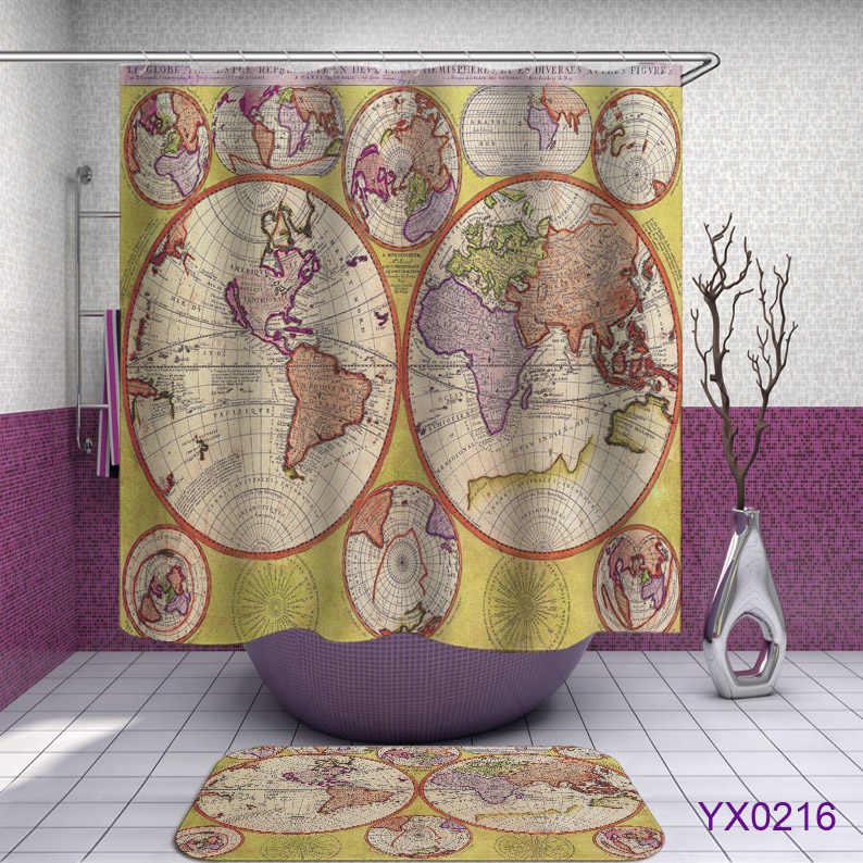 خريطة العالم نمط دش الستار ستائر الحمام دش جدار خريطة الستار 3D للماء العالم خريطة دش الستائر أو حصيرة