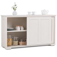 Costway Kitchen Storage Cabinet Sideboard Buffet Cupboard Wood Sliding Door Pantry HW53868WH