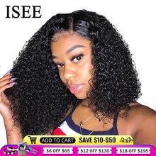 Парик ISEE из вьющихся волос на сетке спереди для женщин, кудрявые вьющиеся парики на сетке спереди, парик 4X4 на сетке, парик Боб, бразильские вьющиеся парики из человеческих волос