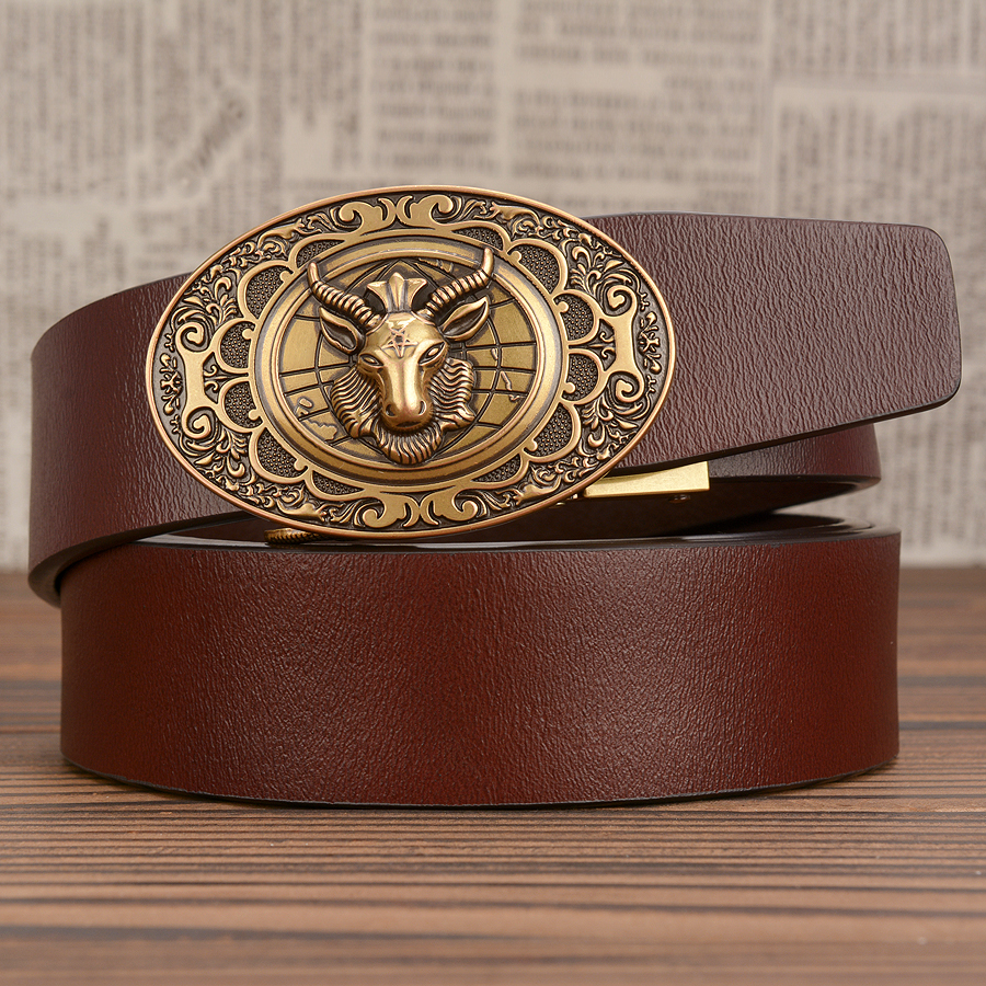Black Leather Mens Belts Automatic Ratchet Buckles Dress Jeans Waistband Straps