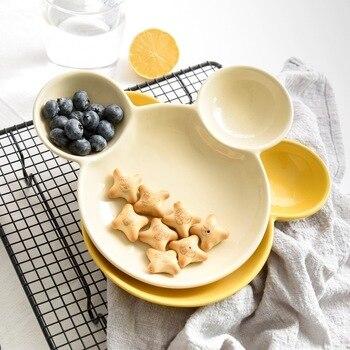 Mickey Ceramic Tableware Children's Home Breakfast Tray Creative Western Food Baby Plate Cute Cartoon Fruit Plates