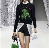 Cosmicchic Embroidery Cashmere Sweater Women 2019 Fall Winter Long Sleeve Pullover Dinosaur Runway Fashion Sweater LY273