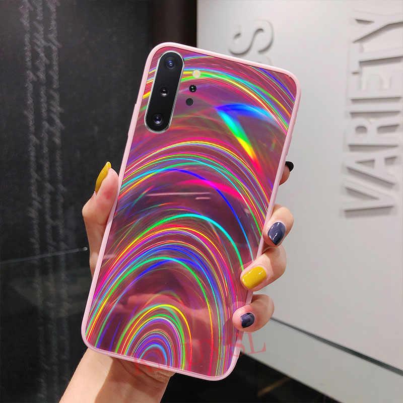 Rainbow lustro błyszczące etui do Samsung Case A30S A20 A50 A70 J8 J6 A6 A7 A9 2018 S8 S9 S10 uwaga 8 9 10 Plus S10E obudowa