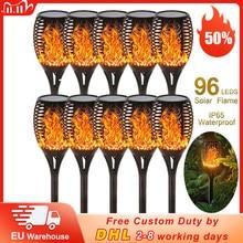 Torche solaire imperméable à 96 Led en forme de flamme vacillante, éclairage d'extérieur, luminaire décoratif de paysage, idéal pour un jardin ou noël