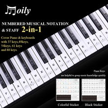 цена на Transparent Piano Keyboard Sticker for 54/61 Key Electronic Piano Stickers 88 Key Stave Note Piano-Sticker for White Keys