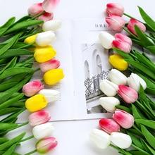 yumai 10 pcs/set PU Real Touch Tulip Flowers Bundle Long Stem Calla Artificial Flower Bouquet for Home Wedding Table Decoration pu real touch artificial calla flower bonsai