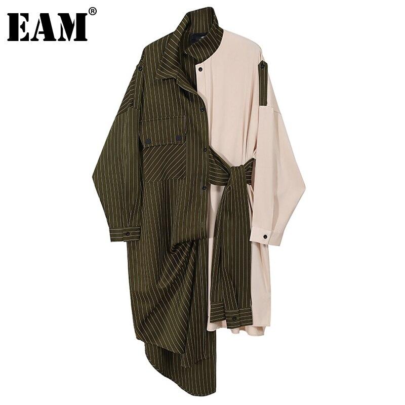 [EAM] femmes vert rayé fendu grande taille robe nouveau Lape à manches longues coupe ample mode marée printemps automne 2021 1DD0108
