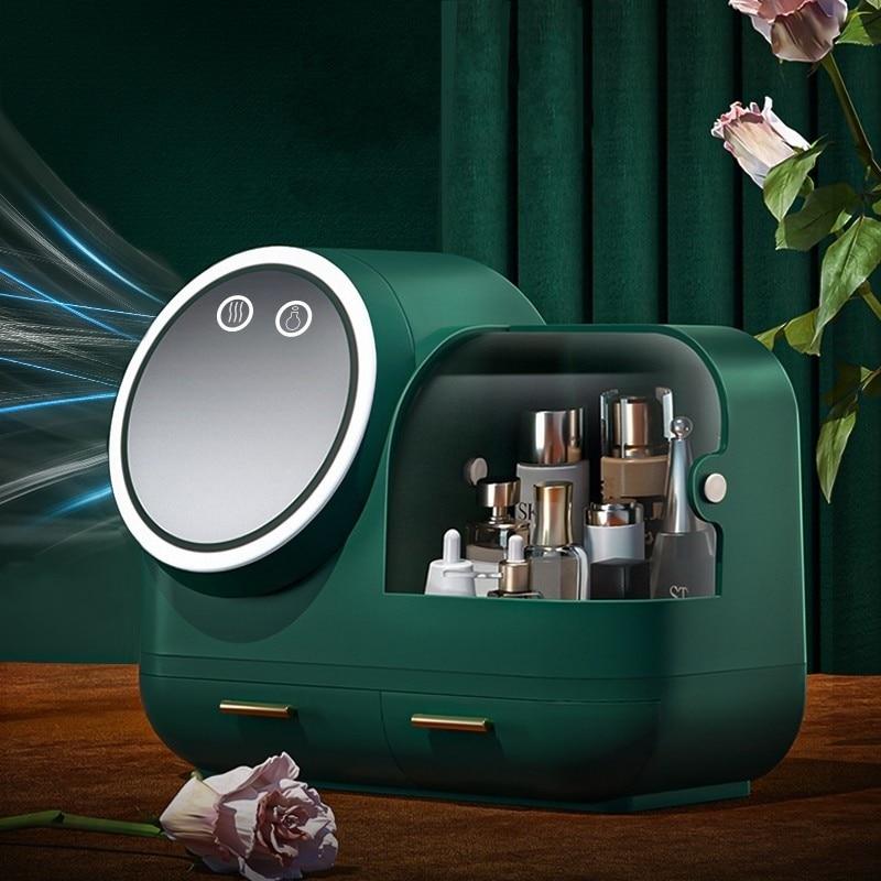 2021 New Cosmetic Storage Box LED light Internal Fan Makeup Box Household Drawer Type Skin Care Product Storage Organizer Box Storage Boxes & Bins  - AliExpress