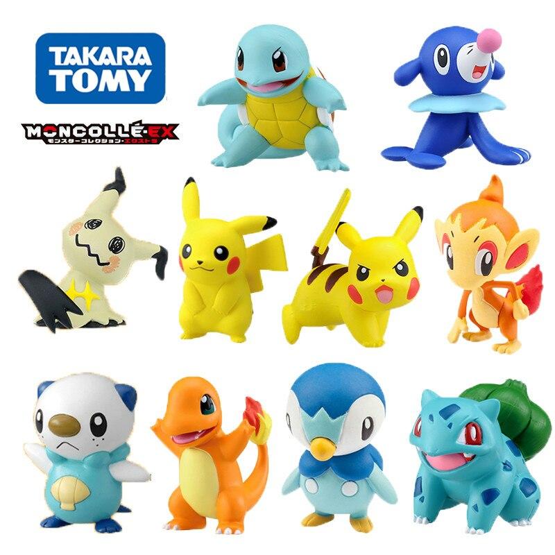 Tomy Pokemon 4-6cm Charmander Popplio Litten Pikachu Rowlet Treecko Eevee Fennekin Greninja Anime Action Figure Dolls Toy