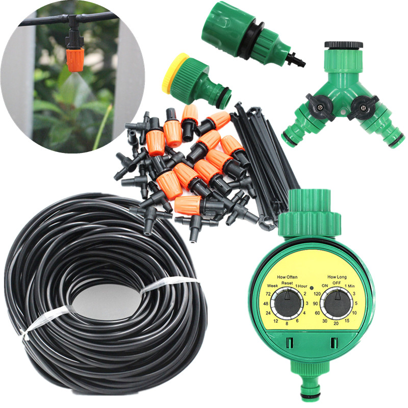 5-40m Misting Sprinkler With Water Timer Set Garden Irrigation Spray Self Watering Kits With Adjustable Nozzle Watering Kits
