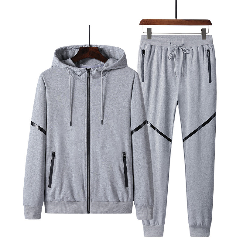New Men'S Sportswear Sets Casual Spring Cotton Clothing Male Fashion Tracksuit Hooded Zipper Coat + Pants Plus Size 5XL
