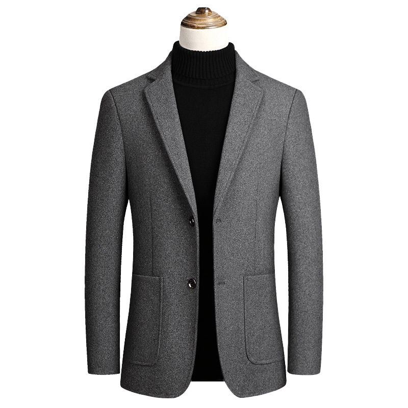 Men Wool Blends Coats Spring Autumn New Solid Color High Quality Men's Wool Jacket Mens Slim Fit Wool Jackets