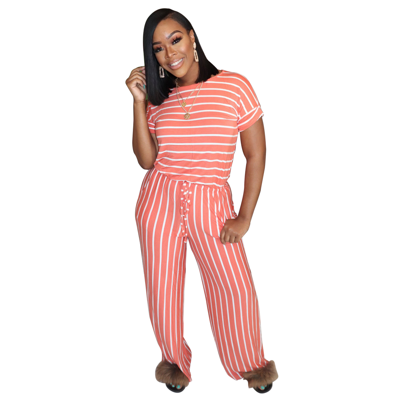 H25b369f1488b41ec97f35f0e4e3e0a92n - Fashion Women Stripes Jumpsuits Summer New Arrival Short Sleeves Crew Neck Women Casual Rompers Loose Daily Wear Outfits