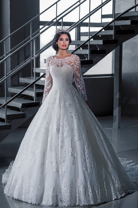 Robe De Mariage Lace Wedding Dresses Long Sleeve See Through Wedding Dress 2016 Hot Sale Sweetangel Vestido De Noiva
