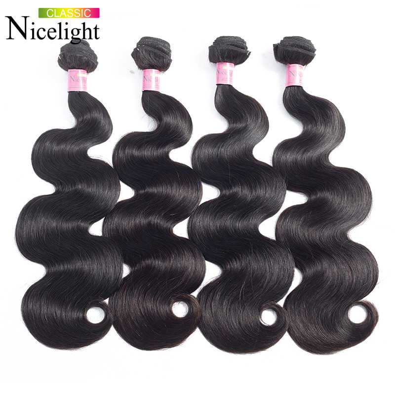 Vücut dalga İnsan saç paketler hint Remy saç demetleri Nicelight demetleri saç uzatma 1/3/4 saç demetleri remy saç örgü demetleri