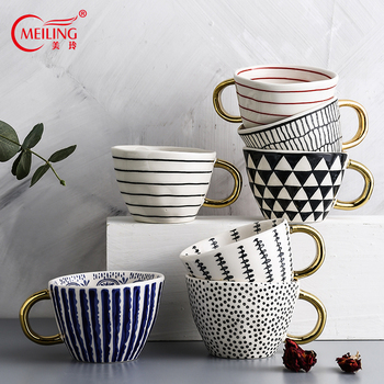 Creative Handmade Ceramic Mugs With Gold Handgrip Irregular Coffee Cups Nordic Kitchen Accessories Personalized Home Decor Gifts