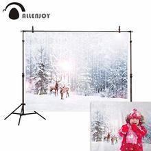 Allenjoy зимний фон дерево сосна Лось Снег Рождественские украшения декорации год фон для фотосъемки Фотостудия