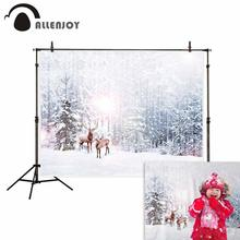 все цены на Allenjoy winter background forest pine elk snow christmas decorations scenery for photography backdrop photozone photo studio онлайн