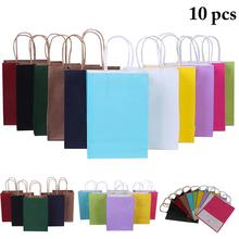 10 шт Рождественский мешок портативный ассорти цветов Подарочный пакет из крафт-бумаги подарочная сумка