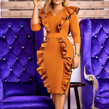 Western Style Plus Size Dress Spring Autumn The New Fashion Temperament Simple Thin Best Sellers Fungus V-neck Long Sleeve