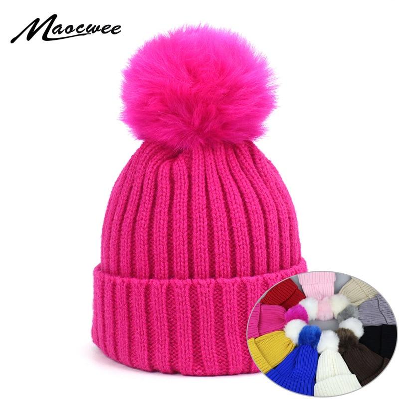 Children Cap Women's Beanies Knitted Skullies Hats False Fur PomPon Hat White Autumn Winter Warm Pure Colour High Quality