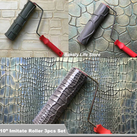 """3pcs 10"""" Pattern Paint Roller Environmental Protection Stamp Decorative Cylinder Imitate Leather Texture Tools