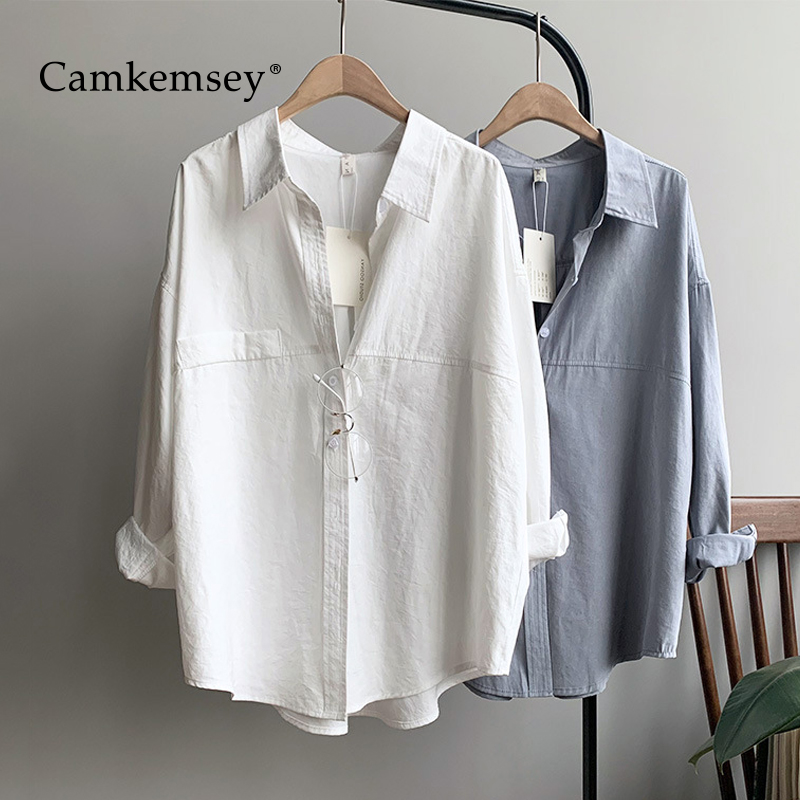 CamKemsey Korean Solid Imitation Suede Loose Blouse Shirts Women Spring Autumn Long Sleeve Office Ladies Casual White Shirts