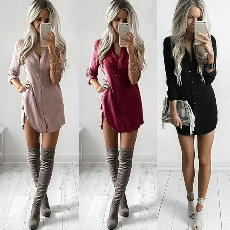 Women Sexy Long Sleeve Shirt Dress Casual Blouse Loose Chiffon V Neck Blouses Shirt For Women Solid Red Black Mini Dress Ladies