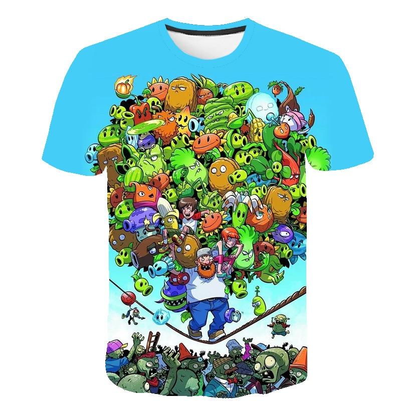 Детские милые детские футболки с 3d-героями мультфильмов, Летние повседневные универсальные топы с растениями и зомби, модные топы с круглым...