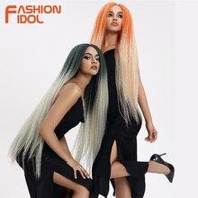 FASHION IDOL perruque Lace Front Wig, tresse longue, 38 pouces, cheveux crépus lisses, ombré, rose, vert, pour femmes noires