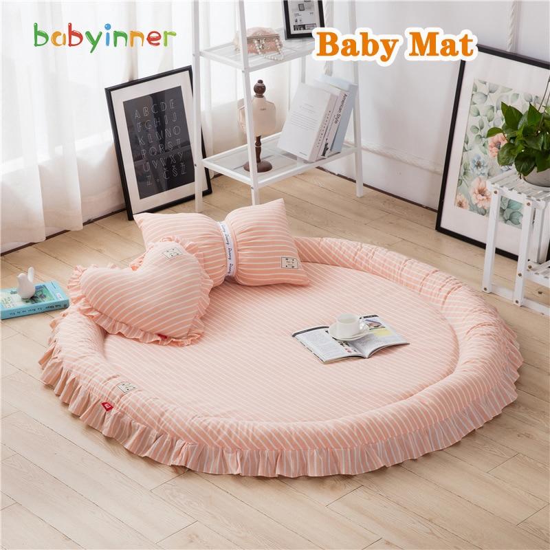 Babyinner Baby Play Mat 140*140*4cm Thickened Round Floor Mat Non-slip Cotton Carpets Children Game Pad Kids Rugs Room Decor