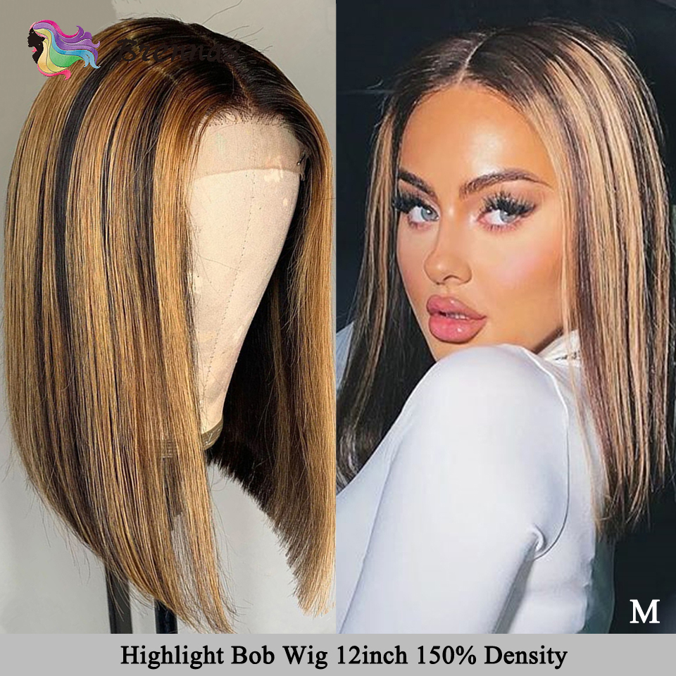 Honey Blond Highlight Bob Wig Brazilian Human Hair Lace Front Wig Straight Short Bob 13X6 Lace Wig Remy Hair Bleached Knots P127