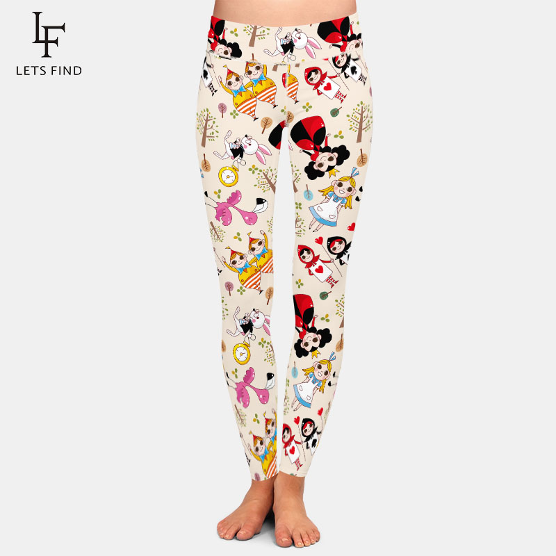 LETSFIND Fashion 3D Printed Cartoon Comics Alice High Waist Plus Size Women Leggings High Quaility Fitness Slim Leggings