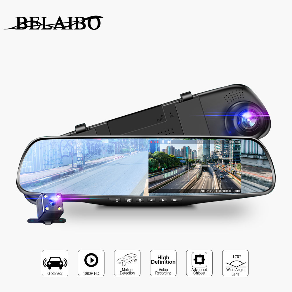 Mirror Cam Camera-Loop Video-Recorder Dash-Cam 1080P Full-Hd Car Dvr Motion-Tracking