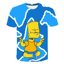 Simpson Jongens T Shirts 3d Baby Kids Mannen Grappige Tee Boy Kleding Streetwear Hip Hop Camiseta Trainingspak Leuke Cartoon Zomer tops(China)