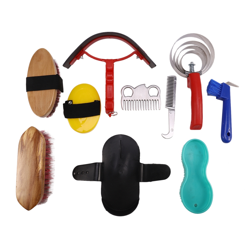 Hot 10-IN-1 Horse Grooming Tool Set Cleaning Kit Mane Tail Comb Massage Curry Brush Sweat Scraper Hoof Pick Curry Comb Scrubber