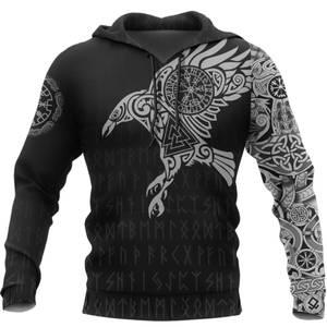 Hooded Sweatshirt Tattoo Raven Viking 3d-Printed Retro Harajuku Fashion Casual of Autumn