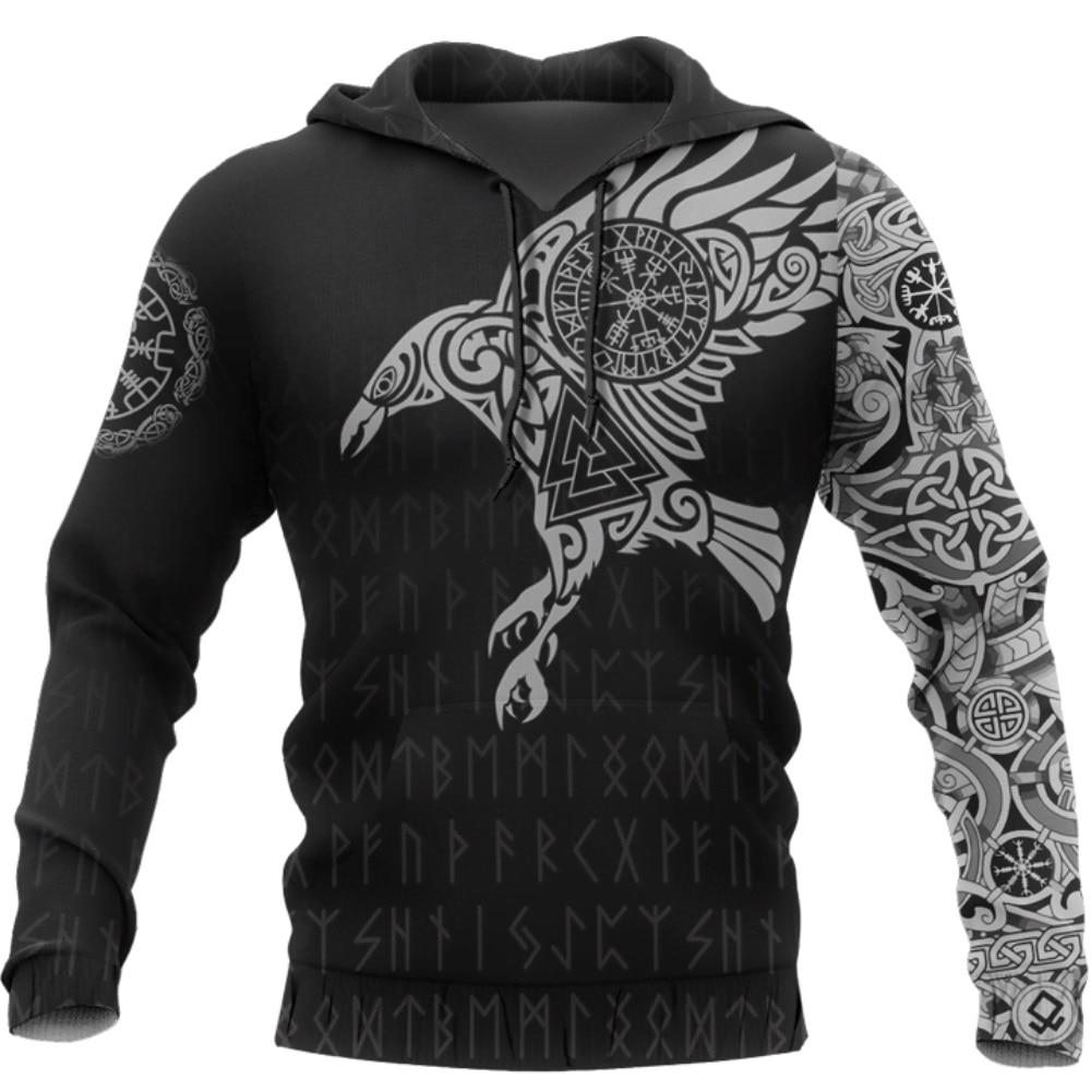 Viking The Raven Of Tattoo 3D Printed Men Hoodies Retro Harajuku Fashion Hooded Sweatshirt Autumn Hoody Casual Streetwear Hoodie