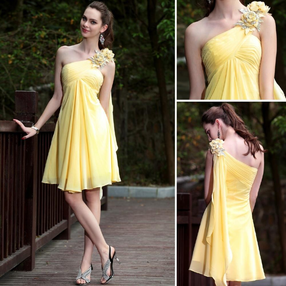 Free Shipping Party Prom Gown 2015 Yellow Chiffon One Shoulder Flowers A-line Elegant Banquet Dress Short Bridesmaid Dresses