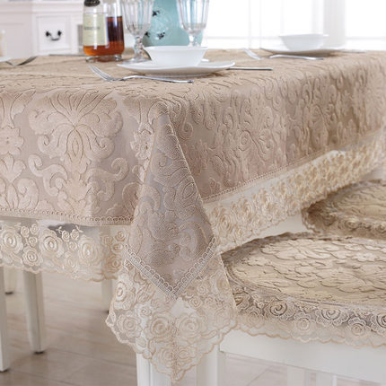 Europe luxury embroidered tablecloth table dining table cover flower table cloth Champagne Lace coffee chair cushion cover image