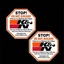 Personalidade 2 k & n filtros etiqueta de advertência decalque motocross atv vtt adesivos pvc vinil reflexivo adesivos