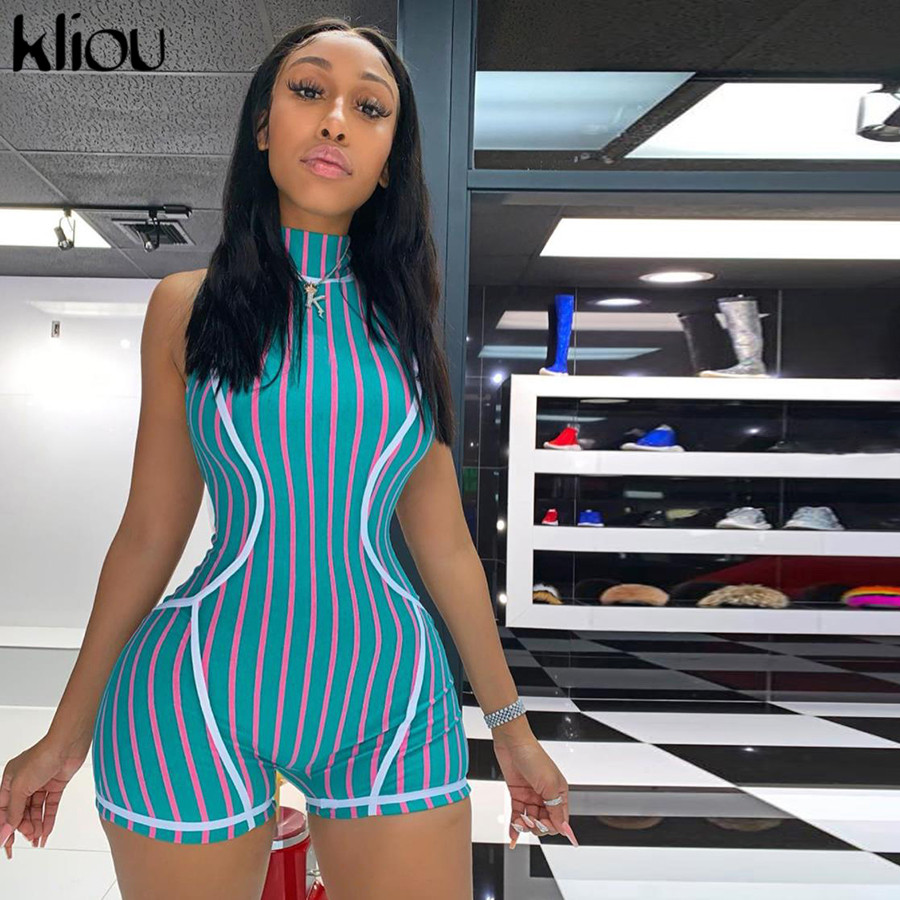 Kliou Women Striped Print Playsuit Zipper Fly Turtleneck Short Rompers 2019 Fashion Street Female Casual Elastic Skinny Bodysuit