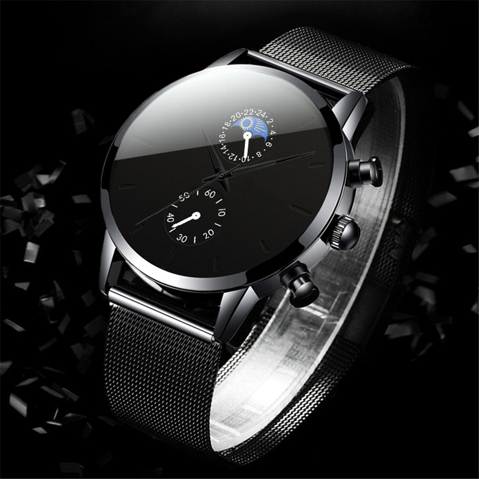 H25b4dff36c944c048848492ae6cedcd1G Fashion Mens Business Black Watches Luxury Stainless Steel leather Belt Watch Quartz Men Wrist Watch Relojes Hombre