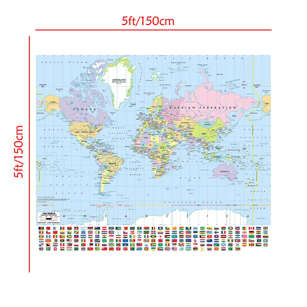 150x150cm Mercator Projection Map Non-woven Vinyl Spray World Map With National Flag For Culture And Education