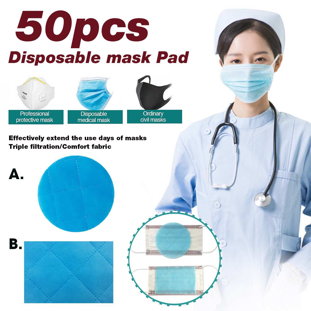 50Pcs Disposable 3 Layer Masks Gasket Anti PM2.5 Anti Influenza Breathing Safety Replacement Pad For kf94 N95 KN95 All Face Mask
