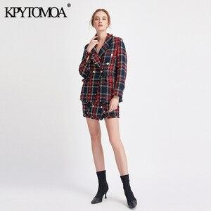 Image 2 - Vintage podwójne piersi postrzępione sprawdzone Tweed Blazers płaszcz kobiety 2020 modne etui kratę panie odzieży dorywczo Casaco Femme