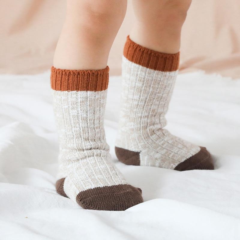 2019 Girls Kids Cotton Socks Anti-skid Winter/Autumn Wool Infant Neonatal Baby Socks Simple Solid Children Socks For Boys 0-8 T