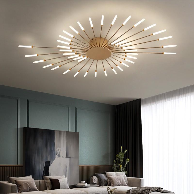Lámpara de techo LED de varios cabezales, Panel de hierro moderno, creativo, negro o dorado, para comedor, sala de estar, dormitorio, vestíbulo, decoración del hogar